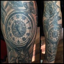 Watch and Rose Tattoo by Kevin Riley at Studio One Tattoo Norwood Philadelphia